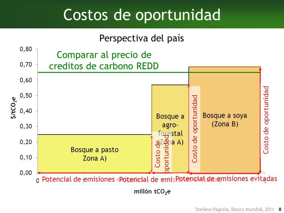 Stefano Pagiola, Banco Mundial, 2011 7 Costos de oportunidad 150 tC Ingreso neto ($/ha/año) Densidad de arbono (tC/ha) Zona AZona BZona AZona B Agro- forestal Bosque SoyaPasto 230 tC 290 tC $20 $30 $70 Agro- forestal Bosque SoyaPasto Tasa de deforestación (ha/año) Emisiones evitadas Costos de oportunidad (tC/ha) (millón tCO 2 e) ($/ha/yr) VP ($/ha) ($/ tCO 2 e) (millón $) Zona A Conversión a pasto40,0002302.5202090.258.3 Conversión a agroforestal20,0001500.8303130.576.3 Zona B Conversión a soya20,0002901.6707300.6914.6 X =