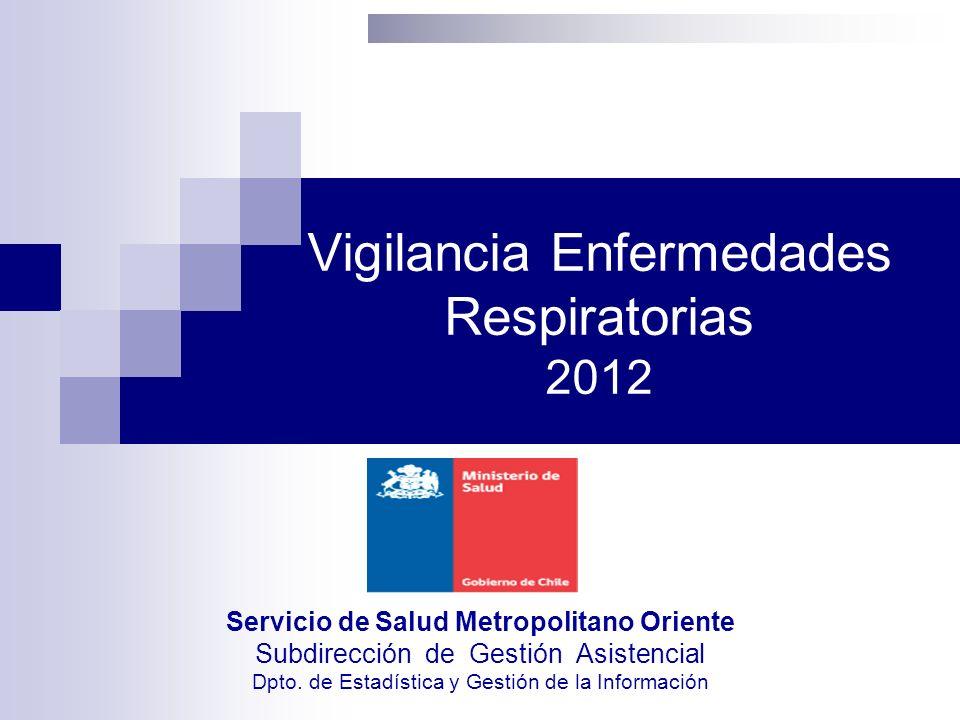 Vigilancia Enfermedades Respiratorias 2012 Servicio de Salud Metropolitano Oriente Subdirección de Gestión Asistencial Dpto. de Estadística y Gestión