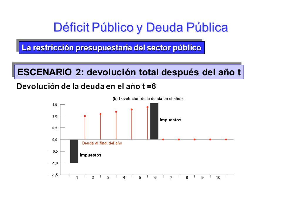 La restricción presupuestaria del sector público Impuestos actuales frente a impuestos futuros Déficit Público y Deuda Pública Devolución de la deuda
