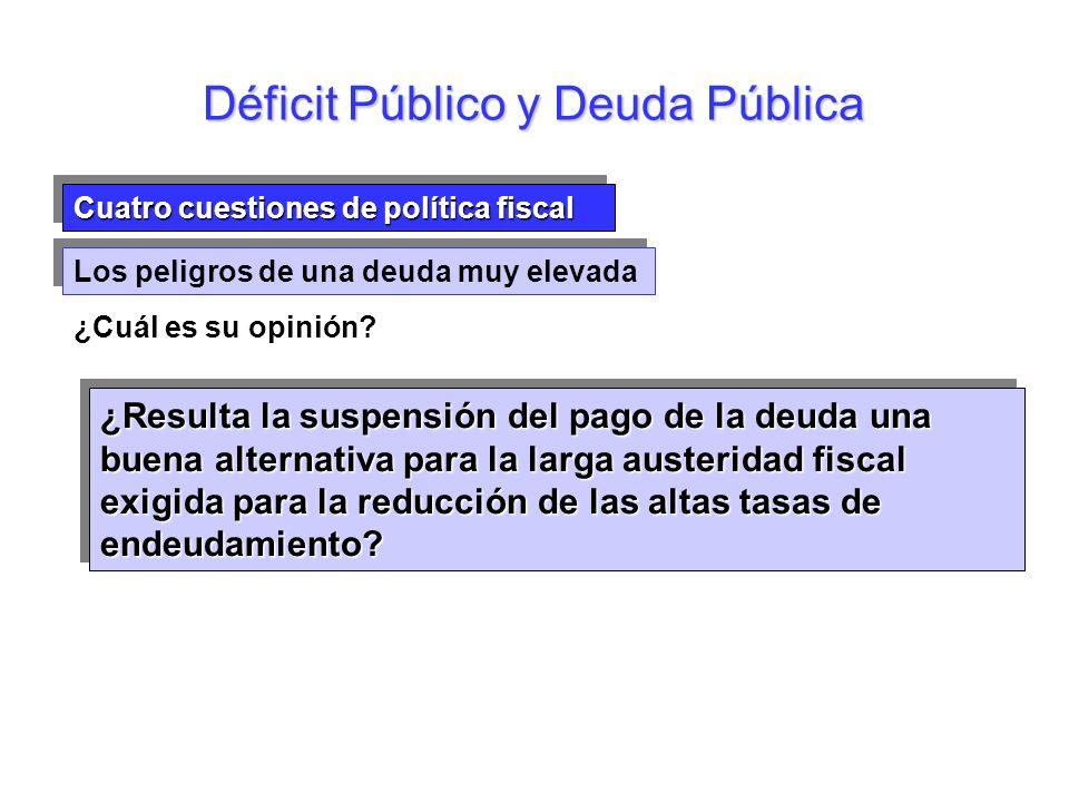 Cuatro cuestiones de política fiscal Los peligros de una deuda muy elevada ¿Cuál es su opinión? Déficit Público y Deuda Pública ¿Resulta la suspensión