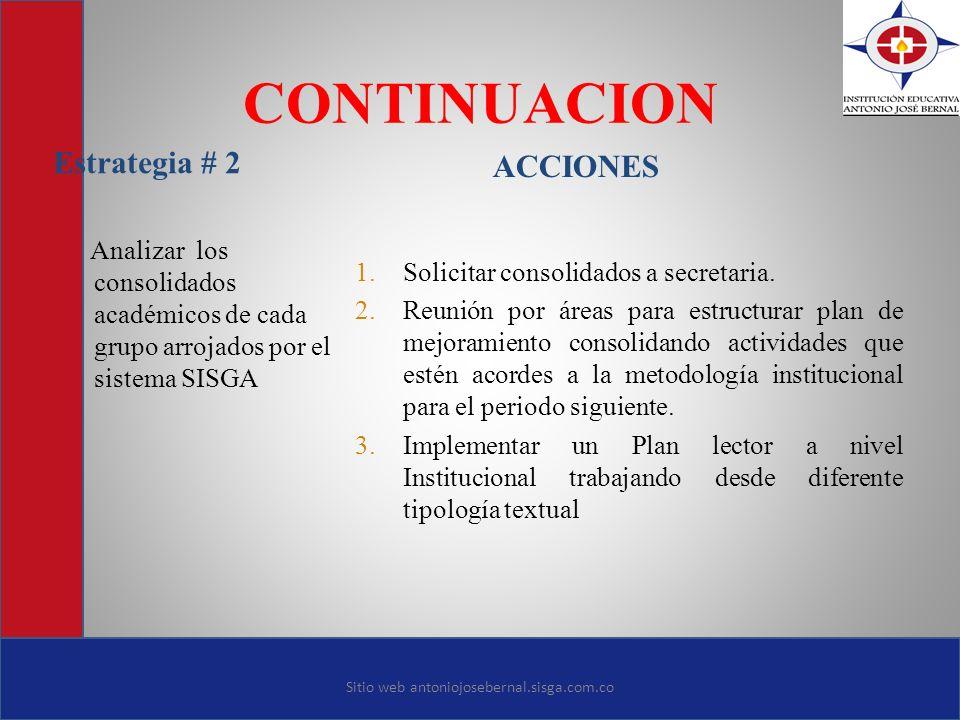 CONTINUACION Estrategia # 2 ACCIONES Analizar los consolidados académicos de cada grupo arrojados por el sistema SISGA 1. Solicitar consolidados a sec