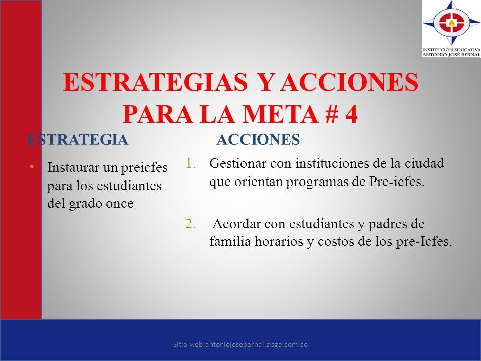 ESTRATEGIAS Y ACCIONES PARA LA META # 4 ESTRATEGIA ACCIONES Instaurar un preicfes para los estudiantes del grado once 1. Gestionar con instituciones d