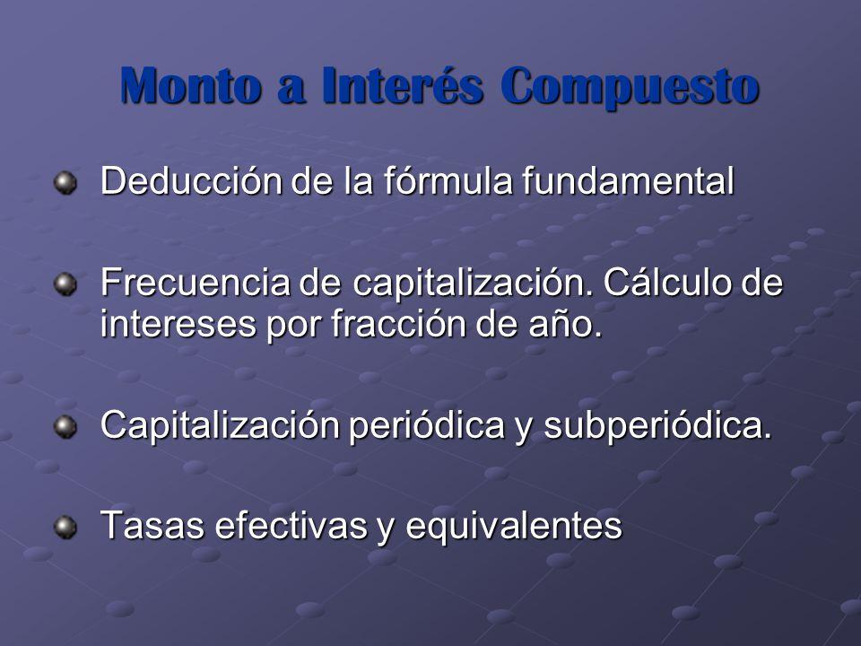 Monto a Interés Compuesto Deducción de la fórmula fundamental Frecuencia de capitalización. Cálculo de intereses por fracción de año. Capitalización p