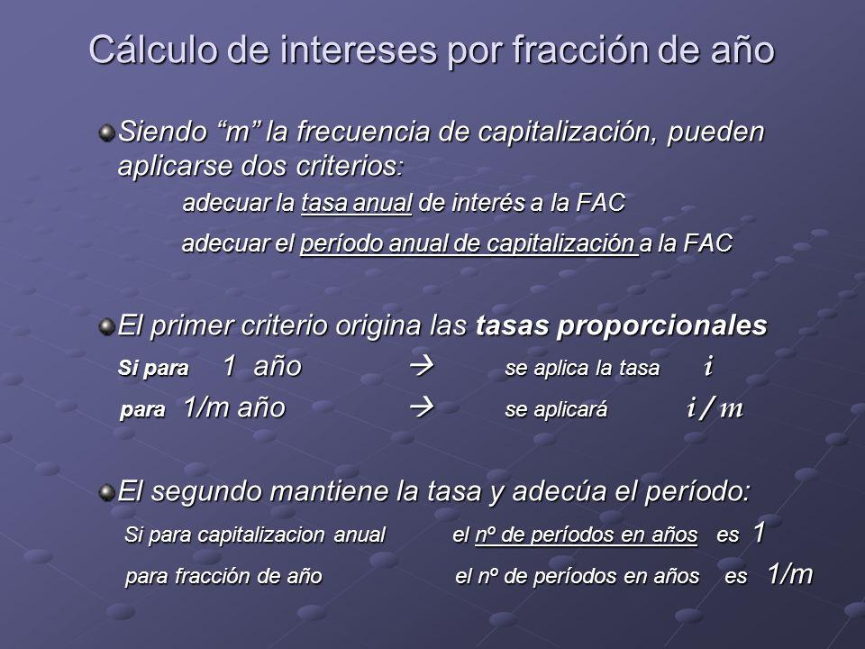 Cálculo de intereses por fracción de año Siendo m la frecuencia de capitalización, pueden aplicarse dos criterios : adecuar la tasa anual de interés a