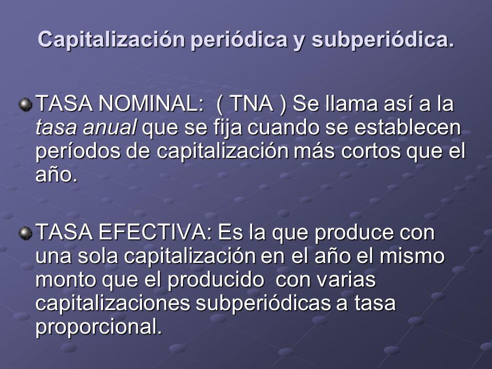 Capitalización periódica y subperiódica. TASA NOMINAL: ( TNA ) Se llama así a la tasa anual que se fija cuando se establecen períodos de capitalizació