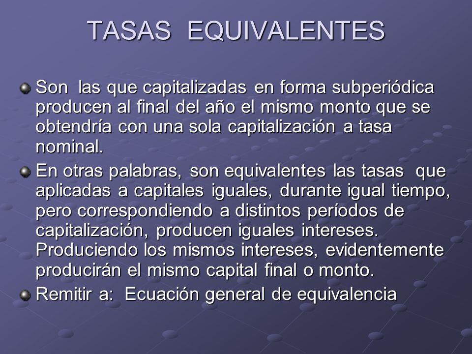 TASAS EQUIVALENTES Son las que capitalizadas en forma subperiódica producen al final del año el mismo monto que se obtendría con una sola capitalizaci
