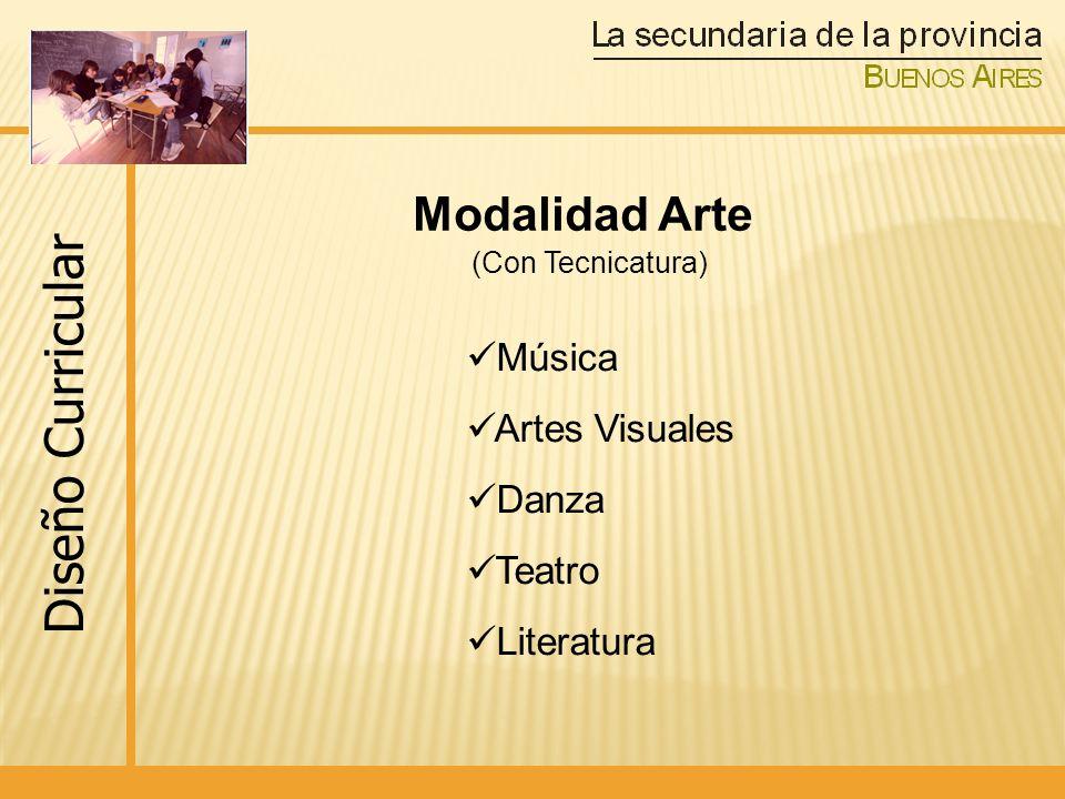 Modalidad Arte (Con Tecnicatura) Música Artes Visuales Danza Teatro Literatura Diseño Curricular