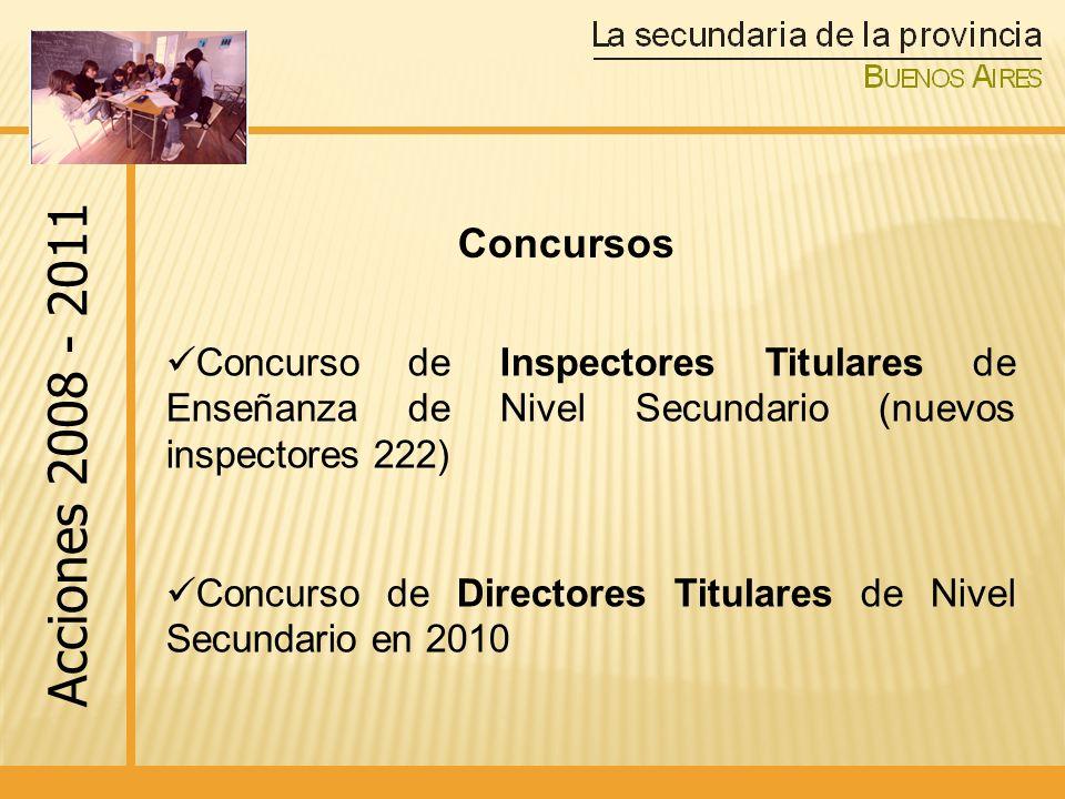 Concurso de Inspectores Titulares de Enseñanza de Nivel Secundario (nuevos inspectores 222) Concurso de Directores Titulares de Nivel Secundario en 2010 Acciones 2008 - 2011 Concursos