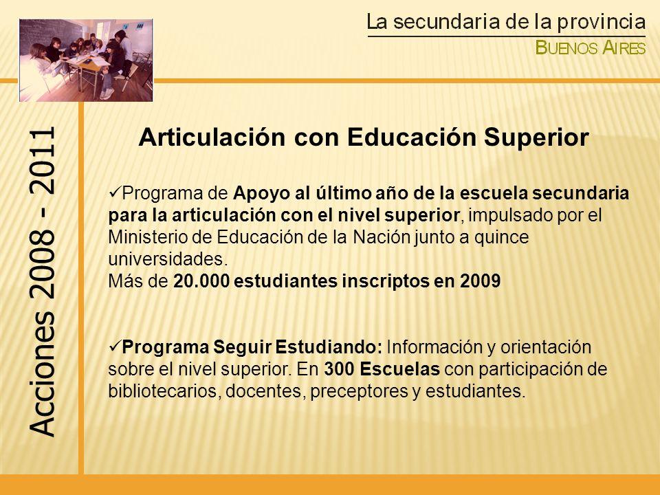 Programa de Apoyo al último año de la escuela secundaria para la articulación con el nivel superior, impulsado por el Ministerio de Educación de la Nación junto a quince universidades.