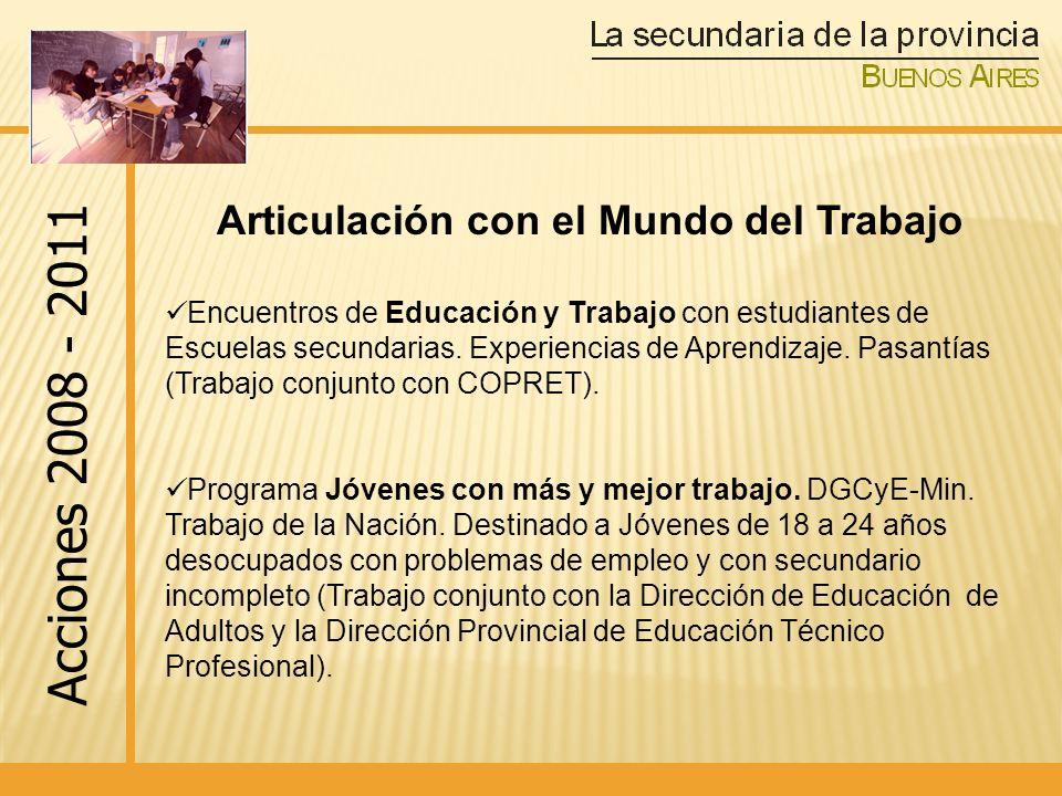 Encuentros de Educación y Trabajo con estudiantes de Escuelas secundarias.