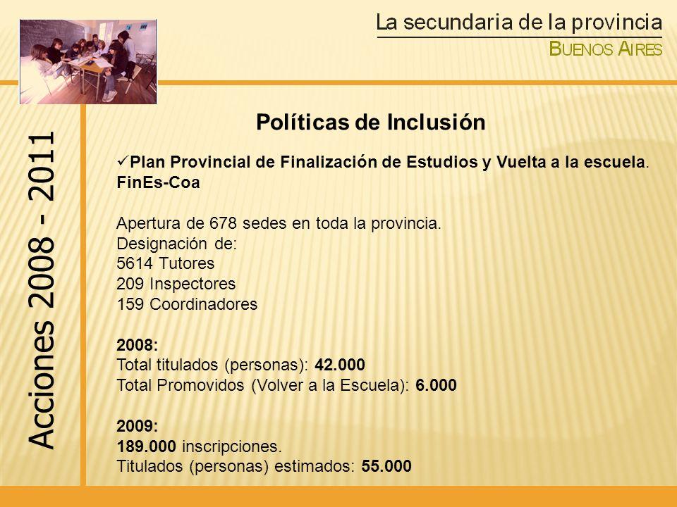 Plan Provincial de Finalización de Estudios y Vuelta a la escuela.