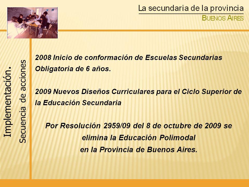 1350 escuelas secundarias de 6 años conformadas como unidad pedagógica e institucional (40% en conurbano y 60% interior) Apertura de 640 secciones de 1er y 4to año en zonas rurales y de islas y en los barrios más pobres de la provincia donde no había oferta de Educación Secundaria.