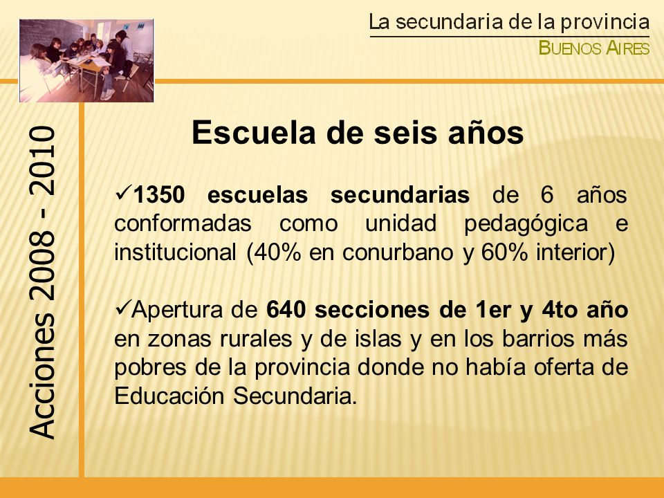 Nuevos Diseños Curriculares en los seis años de la Escuela Secundaria En 2010 se implementa el diseño curricular de cuarto año en TODAS las escuelas secundarias de la provincia de Buenos Aires.