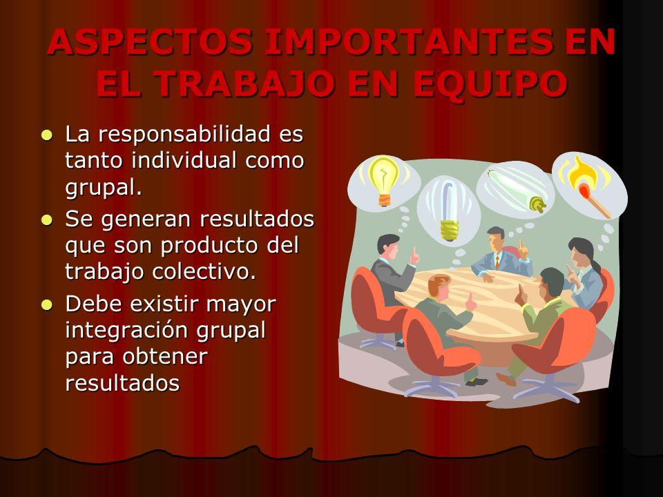 ASPECTOS IMPORTANTES EN EL TRABAJO EN EQUIPO La responsabilidad es tanto individual como grupal.