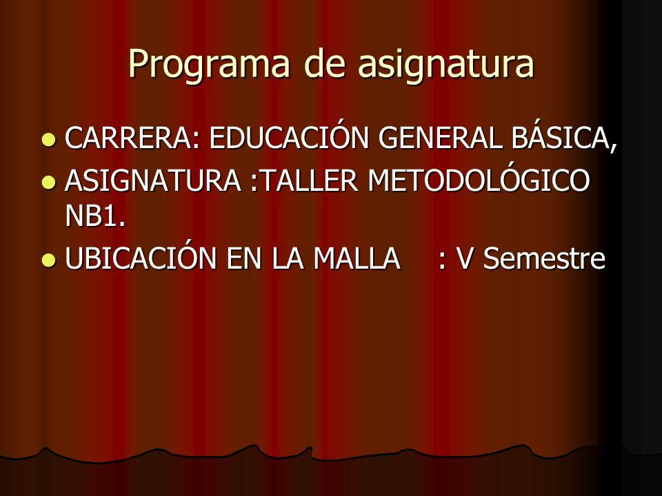 Programa de asignatura CARRERA: EDUCACIÓN GENERAL BÁSICA, CARRERA: EDUCACIÓN GENERAL BÁSICA, ASIGNATURA :TALLER METODOLÓGICO NB1.