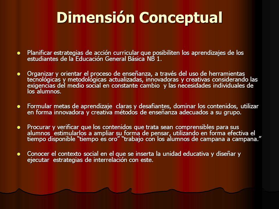 Dimensión Conceptual Planificar estrategias de acción curricular que posibiliten los aprendizajes de los estudiantes de la Educación General Básica NB 1.