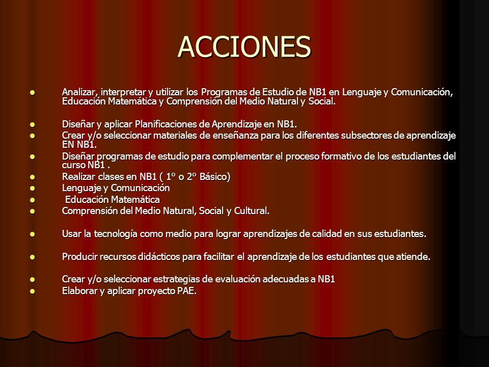 ACCIONES Analizar, interpretar y utilizar los Programas de Estudio de NB1 en Lenguaje y Comunicación, Educación Matemática y Comprensión del Medio Natural y Social.