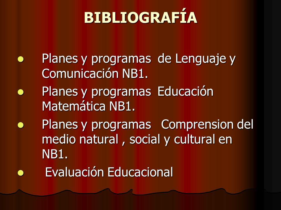 BIBLIOGRAFÍA Planes y programas de Lenguaje y Comunicación NB1.