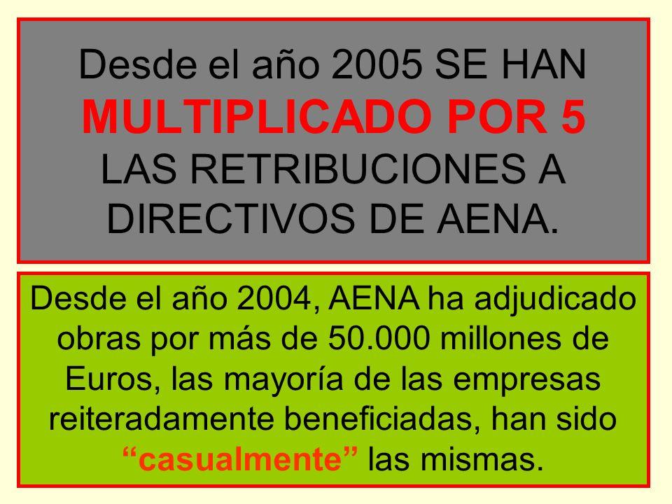 Desde el año 2005 SE HAN MULTIPLICADO POR 5 LAS RETRIBUCIONES A DIRECTIVOS DE AENA.