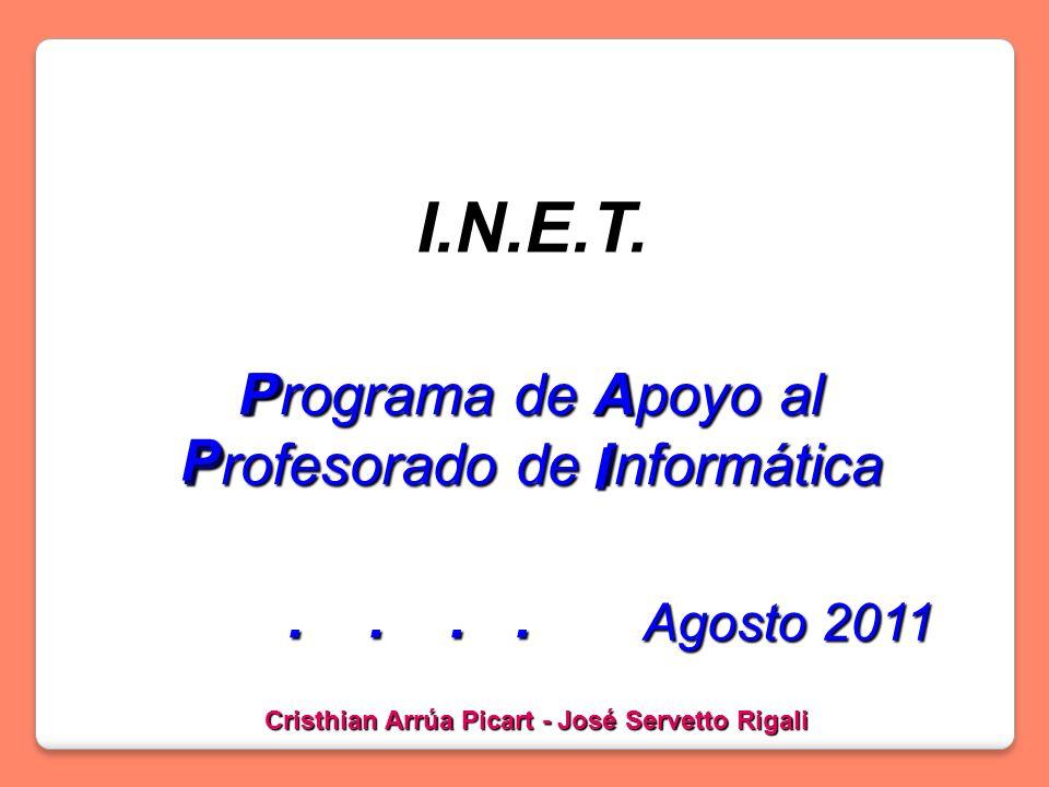 Programa de Apoyo al Profesorado de Informática I.N.E.T.