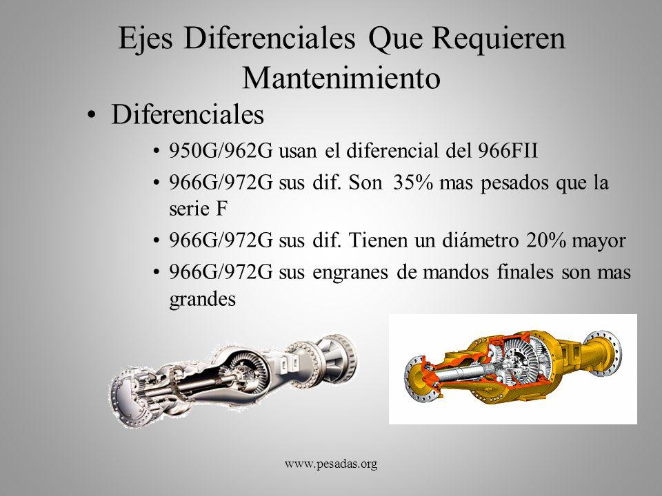 Ejes Diferenciales Que Requieren Mantenimiento Diferenciales 950G/962G usan el diferencial del 966FII 966G/972G sus dif. Son 35% mas pesados que la se