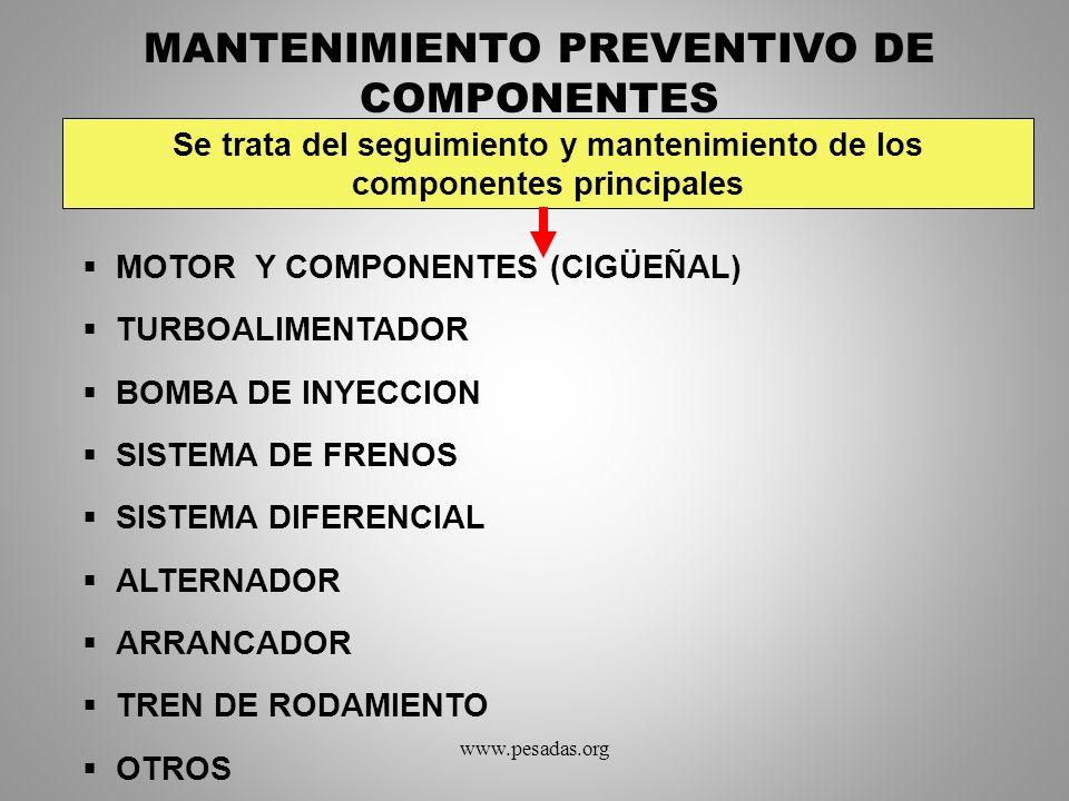 MANTENIMIENTO PREVENTIVO DE COMPONENTES MOTOR Y COMPONENTES (CIGÜEÑAL) TURBOALIMENTADOR BOMBA DE INYECCION SISTEMA DE FRENOS SISTEMA DIFERENCIAL ALTER