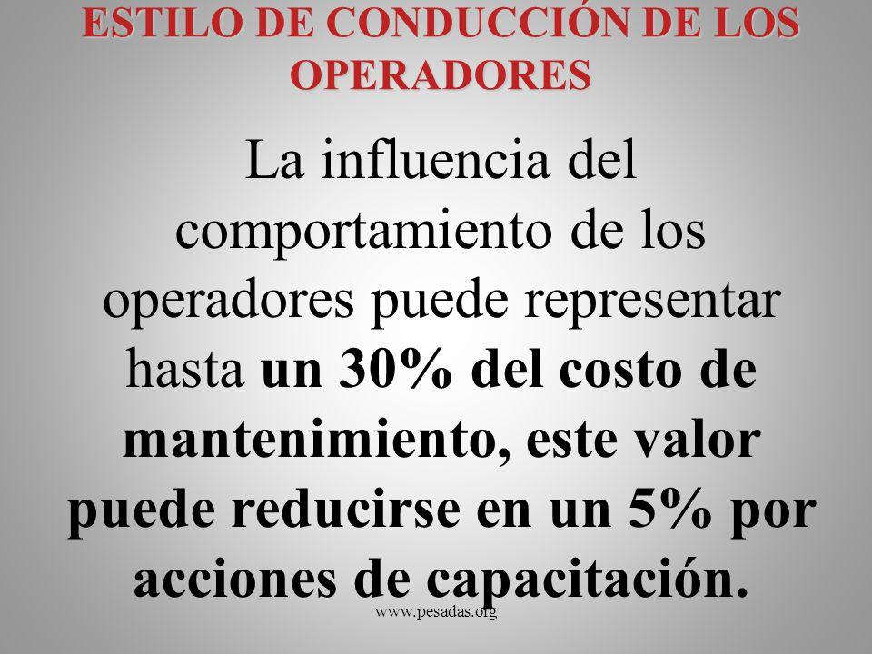 ESTILO DE CONDUCCIÓN DE LOS OPERADORES La influencia del comportamiento de los operadores puede representar hasta un 30% del costo de mantenimiento, e