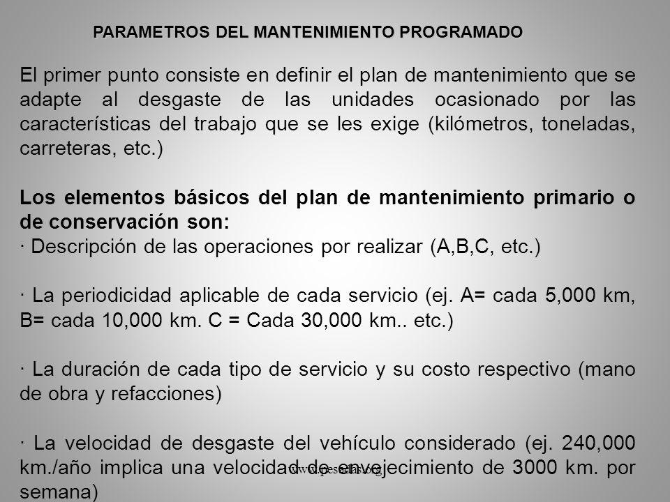 El primer punto consiste en definir el plan de mantenimiento que se adapte al desgaste de las unidades ocasionado por las características del trabajo