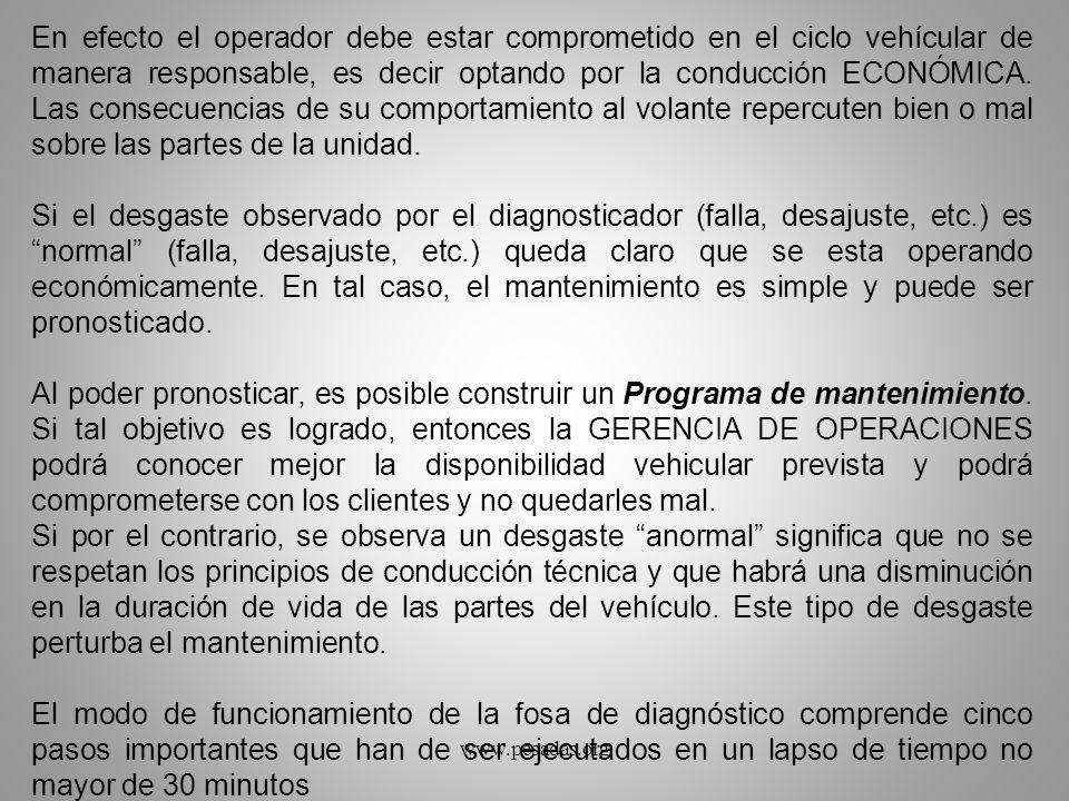 En efecto el operador debe estar comprometido en el ciclo vehícular de manera responsable, es decir optando por la conducción ECONÓMICA. Las consecuen