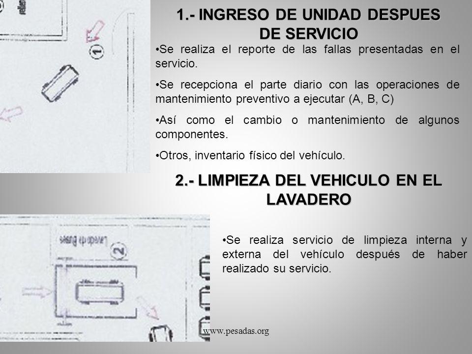 1.- INGRESO DE UNIDAD DESPUES DE SERVICIO Se realiza el reporte de las fallas presentadas en el servicio. Se recepciona el parte diario con las operac