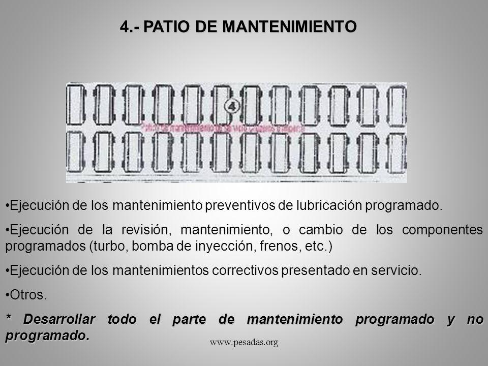4.- PATIO DE MANTENIMIENTO Ejecución de los mantenimiento preventivos de lubricación programado. Ejecución de la revisión, mantenimiento, o cambio de