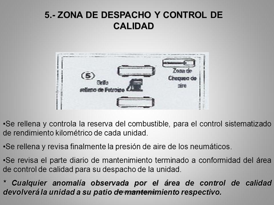 5.- ZONA DE DESPACHO Y CONTROL DE CALIDAD Se rellena y controla la reserva del combustible, para el control sistematizado de rendimiento kilométrico d