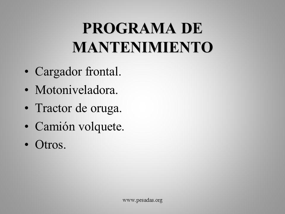 PROGRAMA DE MANTENIMIENTO Cargador frontal. Motoniveladora. Tractor de oruga. Camión volquete. Otros. www.pesadas.org