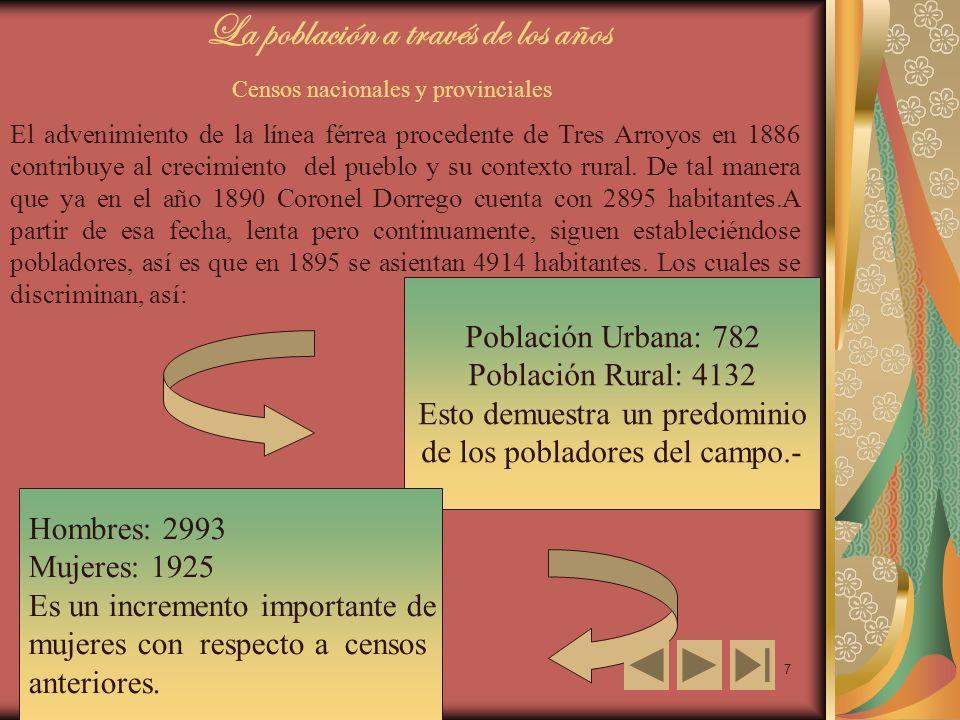 7 La población a través de los años Censos nacionales y provinciales El advenimiento de la línea férrea procedente de Tres Arroyos en 1886 contribuye al crecimiento del pueblo y su contexto rural.