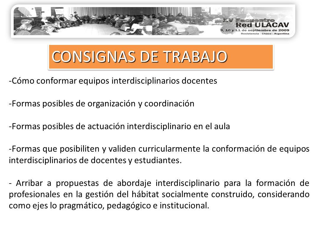 -Cómo conformar equipos interdisciplinarios docentes -Formas posibles de organización y coordinación -Formas posibles de actuación interdisciplinario en el aula -Formas que posibiliten y validen curricularmente la conformación de equipos interdisciplinarios de docentes y estudiantes.