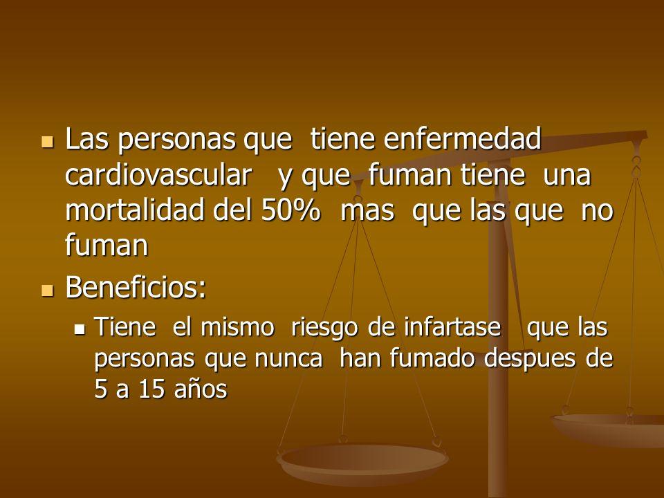 Las personas que tiene enfermedad cardiovascular y que fuman tiene una mortalidad del 50% mas que las que no fuman Las personas que tiene enfermedad c