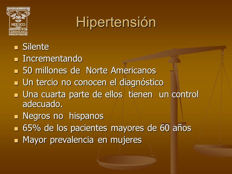 Hipertensión Silente Silente Incrementando Incrementando 50 millones de Norte Americanos 50 millones de Norte Americanos Un tercio no conocen el diagn