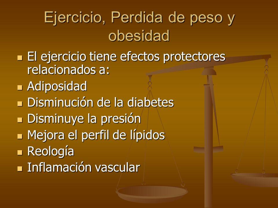 Ejercicio, Perdida de peso y obesidad El ejercicio tiene efectos protectores relacionados a: El ejercicio tiene efectos protectores relacionados a: Ad