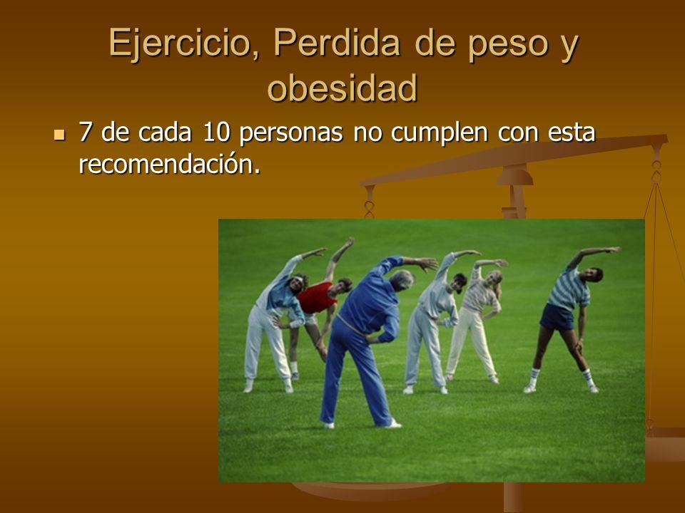 Ejercicio, Perdida de peso y obesidad 7 de cada 10 personas no cumplen con esta recomendación. 7 de cada 10 personas no cumplen con esta recomendación