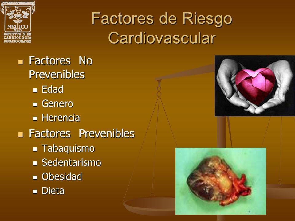 Factores de Riesgo Cardiovascular Factores No Prevenibles Factores No Prevenibles Edad Edad Genero Genero Herencia Herencia Factores Prevenibles Facto