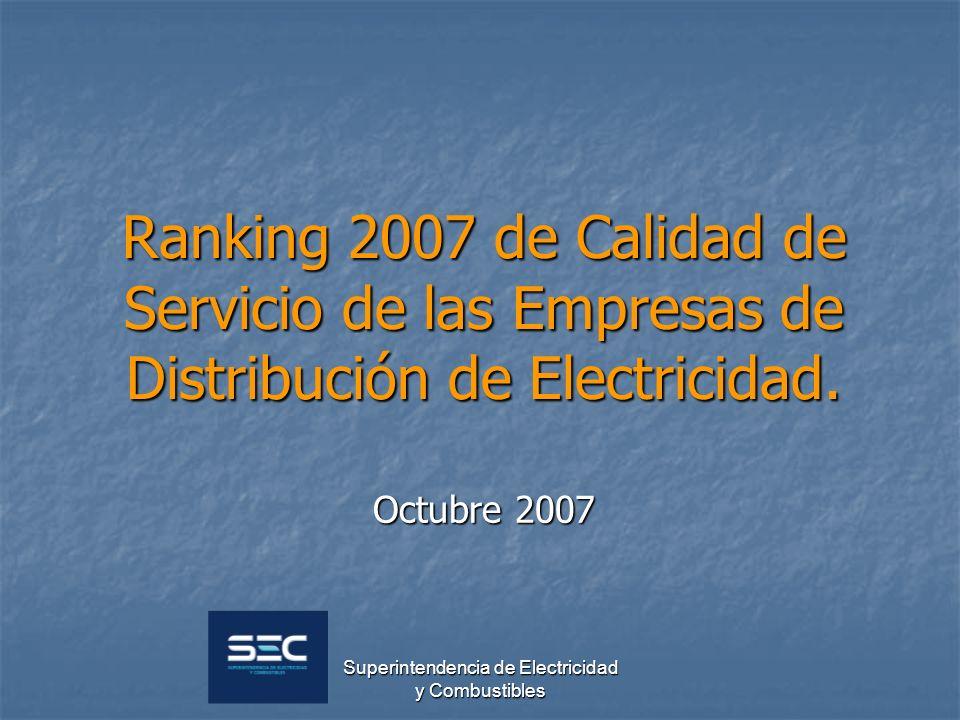 Superintendencia de Electricidad y Combustibles Ranking 2007 de Calidad de Servicio de las Empresas de Distribución de Electricidad. Octubre 2007