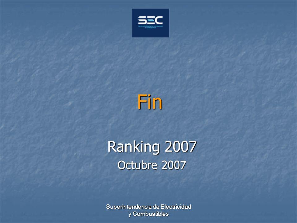 Superintendencia de Electricidad y Combustibles Fin Ranking 2007 Octubre 2007