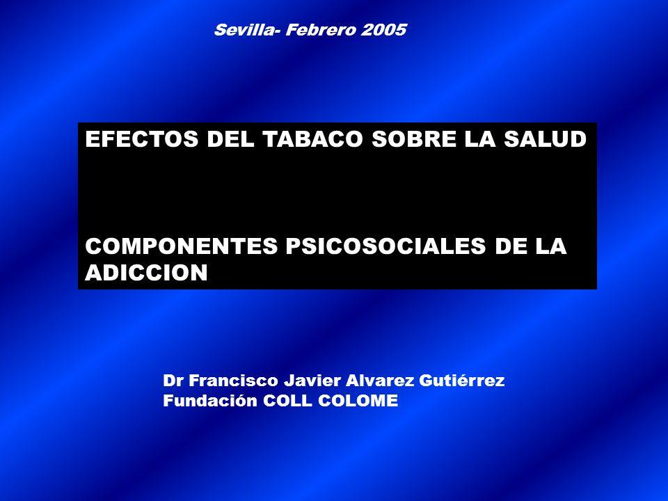 EFECTOS DEL TABACO SOBRE LA SALUD COMPONENTES PSICOSOCIALES DE LA ADICCION Sevilla- Febrero 2005 Dr Francisco Javier Alvarez Gutiérrez Fundación COLL COLOME
