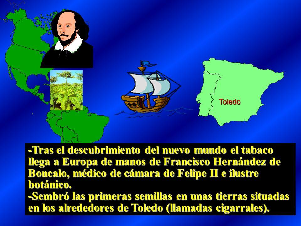-Tras el descubrimiento del nuevo mundo el tabaco llega a Europa de manos de Francisco Hernández de Boncalo, médico de cámara de Felipe II e ilustre botánico.