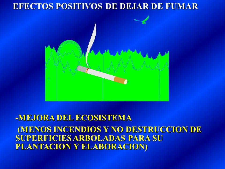 EFECTOS POSITIVOS DE DEJAR DE FUMAR EFECTOS POSITIVOS DE DEJAR DE FUMAR -AHORRO IMPORTANTE DE DINERO