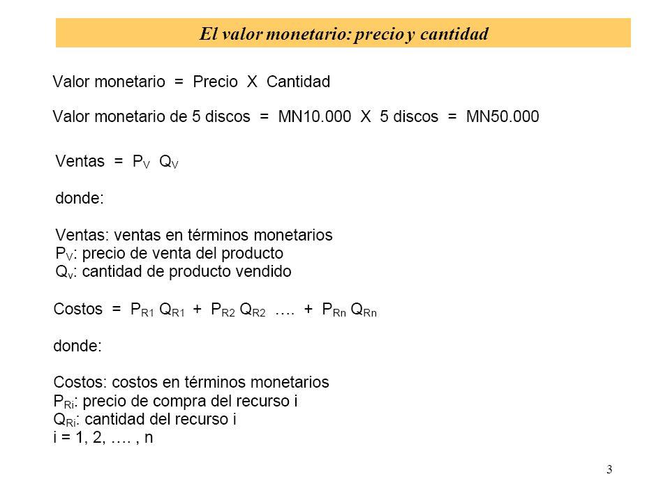 4 El resultado como valor monetario El resultado de la empresa es una colección de valores monetarios
