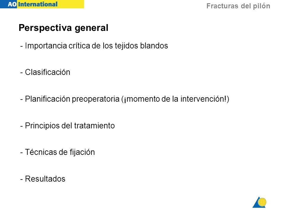 Fracturas del pilón Perspectiva general - Importancia crítica de los tejidos blandos - Clasificación - Planificación preoperatoria (¡momento de la int