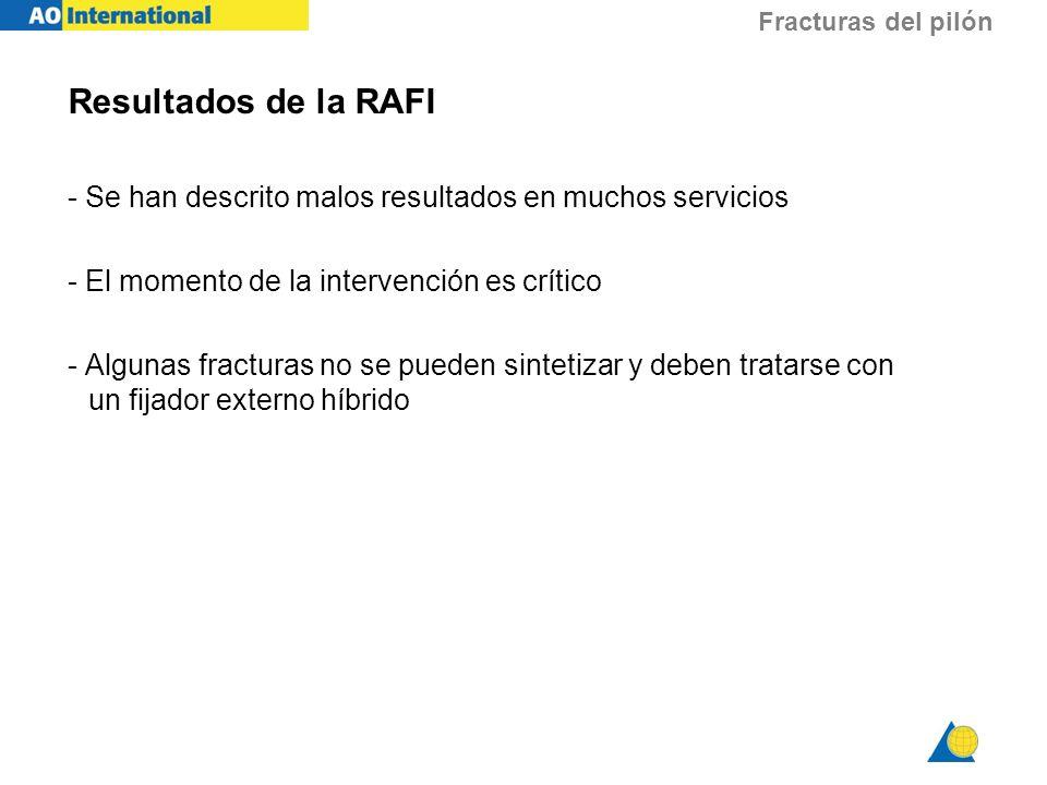 Fracturas del pilón Resultados de la RAFI - Se han descrito malos resultados en muchos servicios - El momento de la intervención es crítico - Algunas