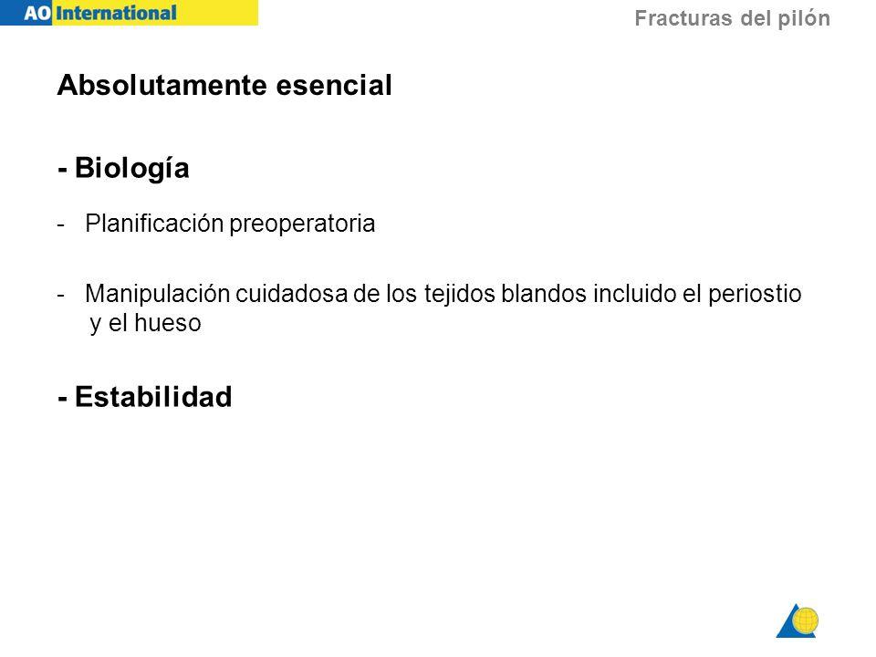 Fracturas del pilón Absolutamente esencial - Biología - Planificación preoperatoria - Manipulación cuidadosa de los tejidos blandos incluido el perios