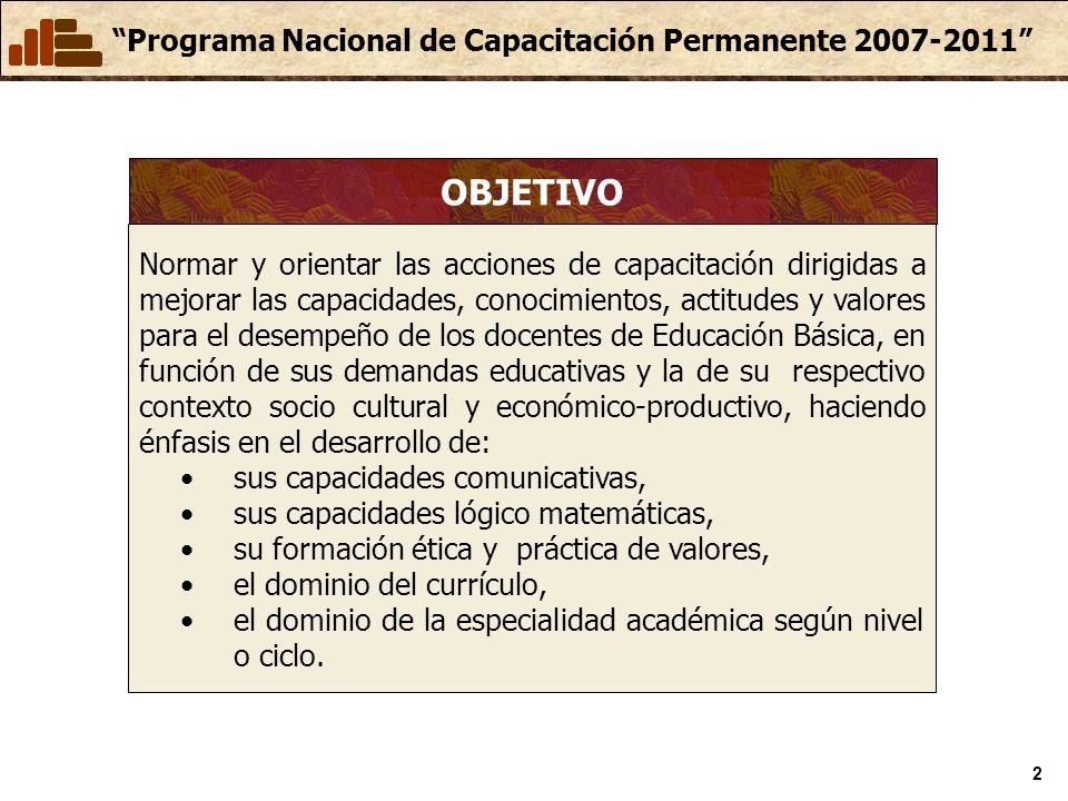Programa Nacional de Capacitación Permanente 2007-2011 2 Normar y orientar las acciones de capacitación dirigidas a mejorar las capacidades, conocimientos, actitudes y valores para el desempeño de los docentes de Educación Básica, en función de sus demandas educativas y la de su respectivo contexto socio cultural y económico-productivo, haciendo énfasis en el desarrollo de: sus capacidades comunicativas, sus capacidades lógico matemáticas, su formación ética y práctica de valores, el dominio del currículo, el dominio de la especialidad académica según nivel o ciclo.